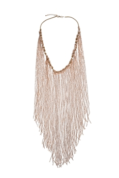 Long Crystal Beaded Tassel Necklace N2564 - Champagne