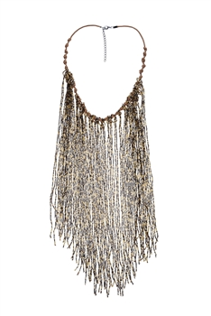 Long Crystal Beaded Tassel Necklace N2564 - Brown