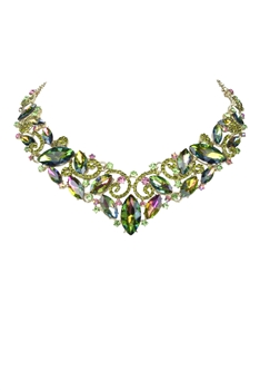 Crystal Gemstone Short Necklace N2579 - Green