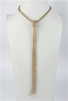 Leather Long Crystal Beaded Tassel Necklace N2611 - Dual Color