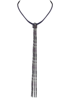 Leather Long Crystal Beaded Tassel Necklace N2611 - Purple