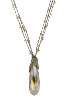 Charm Waterdrop Crystal Long Necklaces N2614 - Champagne