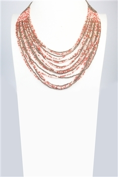 Multi-layer Crystal Beaded Necklace N2669 - Red