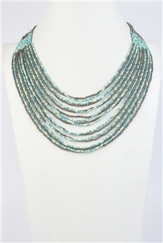 Multi-layer Crystal Beaded Necklace N2669 - Green