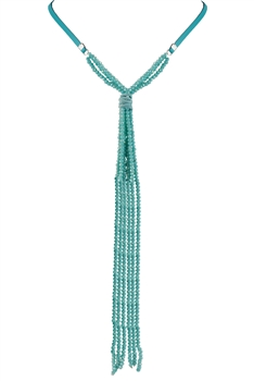 Long Crystal Beaded Necklace N2670 - Blue