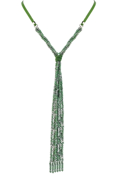 Long Crystal Beaded Necklace N2670 - Green