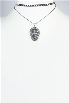 Skull Leatherette Crystal Necklace N2680