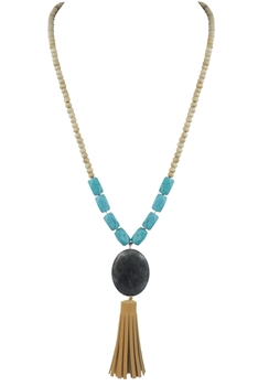 Fashion Blue Turquoise Tassel Long Necklace N2691