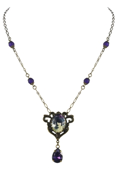 Purple Crystal Water Drop Necklace N2698