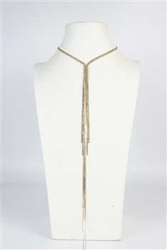 Long Rhinestone Tassel Necklace N2706 - Gold