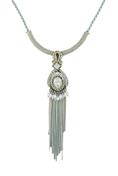 Metal Long Chain Tassel Simple Pendant Necklaces N2721