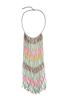 Bohemian Multi Color Beads Long Tassels Necklace N2725