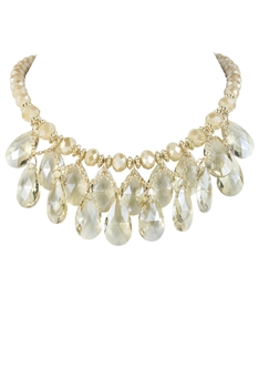 Female Crystal Water Drop Choker Necklace N2734 - Champagne