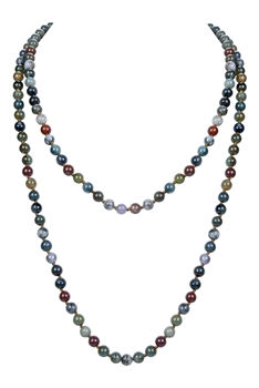 Newest Colorful Fashion Natural Stones Simple Style Long Beaded Necklaces N2740