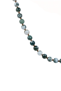Newest Colorful Fashion Natural Stones Simple Style Long Beaded Necklaces N2740 - Tree Line Agate