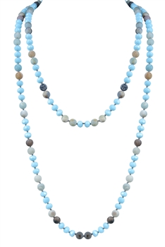 Handmade Crystal Beaded Long Necklaces N2741 - Blue
