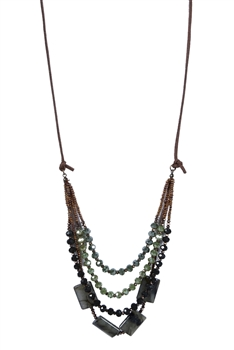 Bohemian Green Crystal Leather Stone Necklaces N2755 - Green
