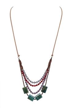 Bohemian Green Crystal Leather Stone Necklaces N2755 - Red
