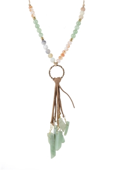New Design Stone Leatherette Tassel Necklaces N2859