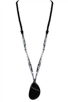 Tear Drop Shape Charm Pendant Necklaces N2860 - Black