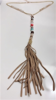 Fashion Brown Leatherette Crystal Tassel  Necklace N2920