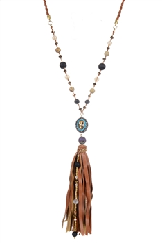 Crystal Charm Leather Tassel Long Necklaces N2932 - Brown