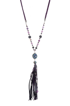 Crystal Charm Tassel Long Necklaces N2932