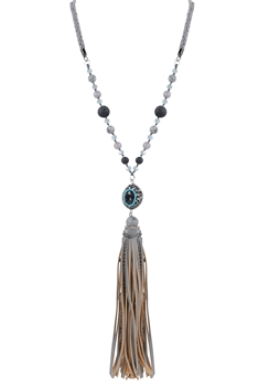Crystal Charm Leather Tassel Long Necklaces N2932 - Grey