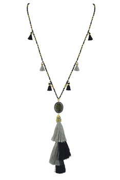 Fashion Silk Tassel Beads Pendant Long Necklace N2938