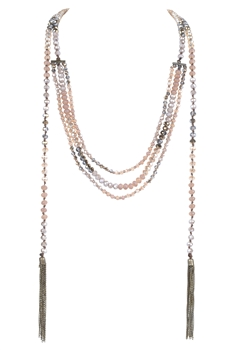 Crystal Bead Long Tassel Necklace N2939 - Champagne