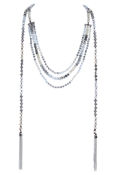 Crystal Bead Long Tassel Necklace N2939 - Grey