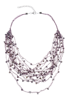Multi-layered Rope Chain Crystal Glass Beaded Necklaces N2940 - Purple