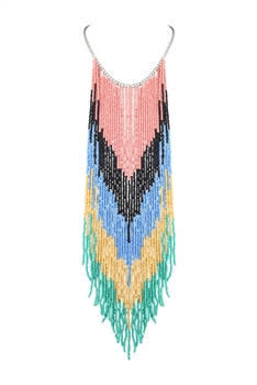 Bohemian Long Beaded Tassel Necklaces N2942