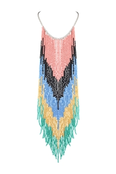 Bohemian Long Beaded Tassel Necklaces N2942 - Pink