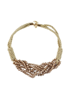 Glass Crystal Choker Necklaces N2943 - Brown