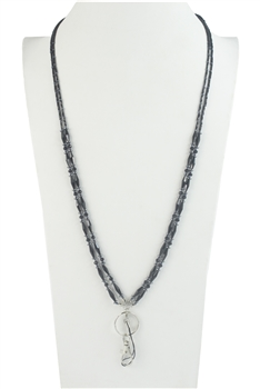 Fashion Two Layers Crystal Bead Long Key chain Necklaces N2945 - Black
