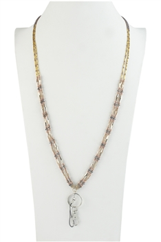 Fashion Two Layers Crystal Bead Long Key chain Necklaces N2945 - Champagne