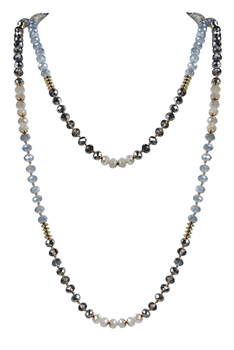 Latest Charm Crystal Beaded Long Necklaces N2947 - Grey