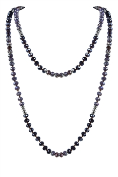 Latest Charm Crystal Beaded Long Necklaces N2947 - Purple