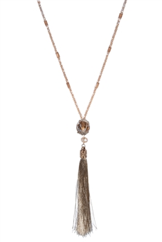 Jade Crystal Beads Tassel Long Chain Pendant Necklaces N2953 - Champagne