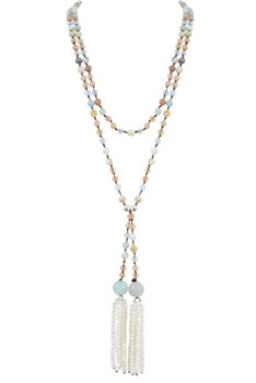 Knotted Glass Crystal Beaded Tassel Multi Layer Long Necklaces N2954