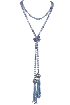 Knotted Glass Crystal Beaded Tassel Multi Layer Long Necklaces N2954 - Grey