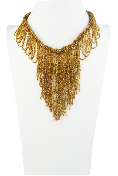 Bohemia Napkin Beads Collar Necklace N2956 - Champagne