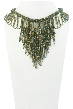 Bohemia Napkin Beads Collar Necklace N2956 - Green