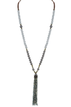 Fashion Crystal Tassel Long Necklace N3029 - Green