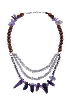 Purple Gravel Stone Crystal Wooden Beads Necklace N3030