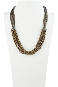 Charming Bohemian Crystal Bead Short Necklace N3031 - Champagne