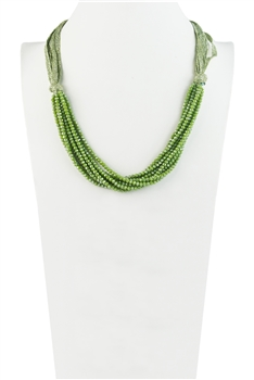 Charming Bohemian Crystal Bead Short Necklace N3031 - Green