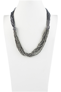 Charming Bohemian Crystal Bead Short Necklace N3031 - Silver