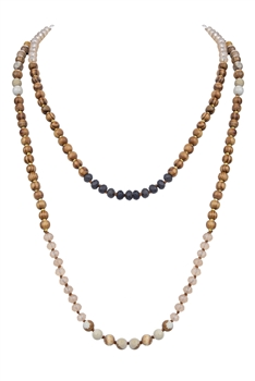 Stone Crystal Beads Long Necklaces N3032